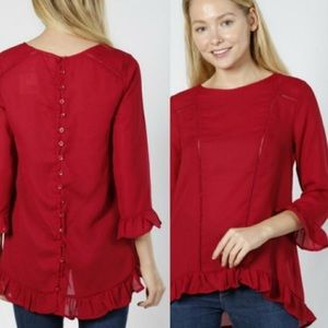 Tops - Red Button Down Blouse